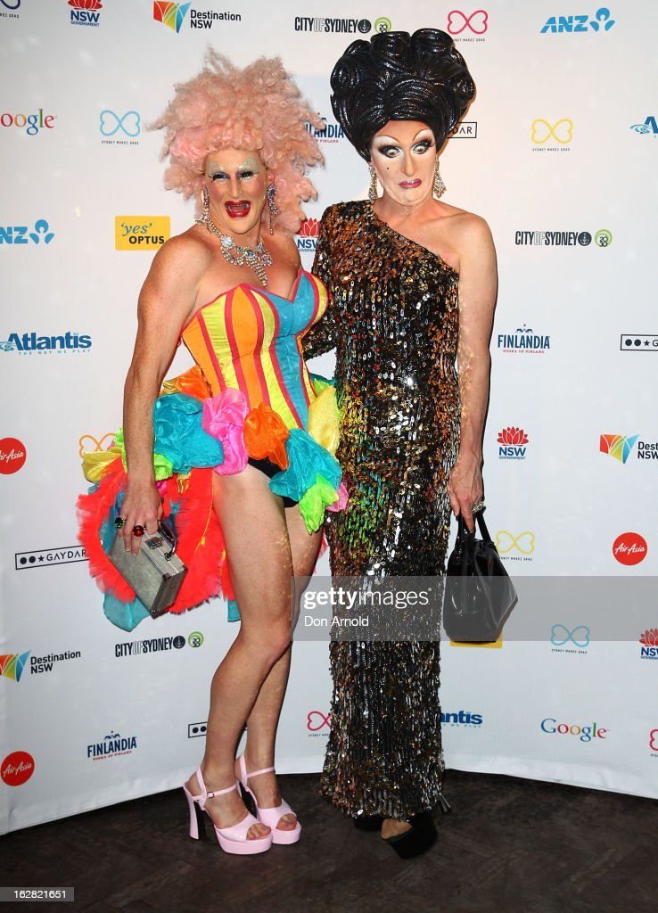 Dame Melvina and Mitzi McIntosh pose at a Sydney Mardis Gras VIP party photo call at Kit and Kaboodle bar on February 28, 2013 in Sydney, Australia.