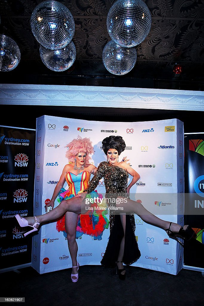 Dame Melvina and Mitzi McIntosh pose during a Sydney Mardis Gras VIP photo call at the Kit and Kaboodle Bar on February 28, 2013 in Sydney, Australia.