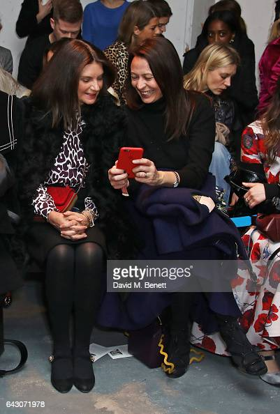 Dame Natalie Massenet and Caroline Rush attend the Roksanda show during the London Fashion Week February 2017 collections on February 20 2017 in...