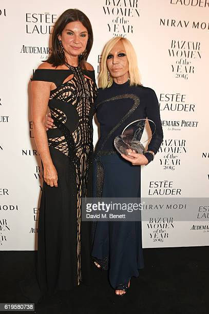 Dame Natalie Massenet and Fashion Icon award winner Donatella Versace attend the Harper's Bazaar Women of the Year Awards 2016 at Claridge's Hotel on...