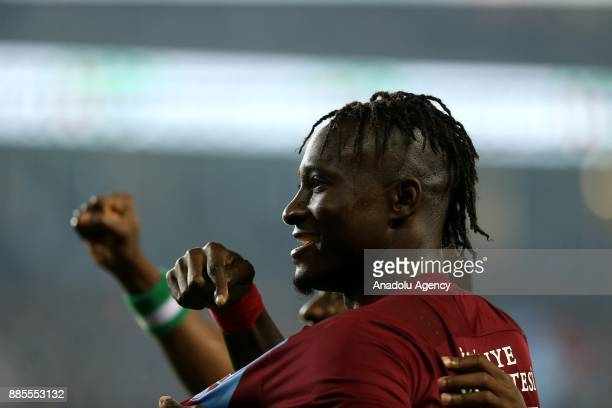 Dame N'Doye of Trabzonspor celebrates after scoring during a Turkish Super Lig match between Trabzonspor and Antalyaspor at Medical Park Stadium in...