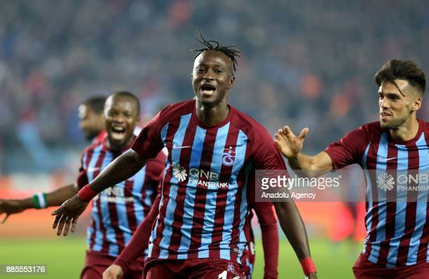 Dame N'Doye of Trabzonspor celebrates with his team mates after scoring during a Turkish Super Lig match between Trabzonspor and Antalyaspor at...