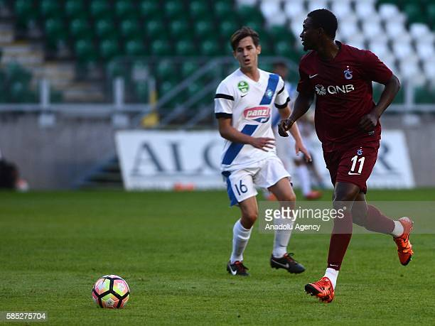 Dame N'Doye of Trabzonspor is in action during the friendly match between Trabzonspor and MTK Budapest FC in Budapest Hungary on August 02 2016