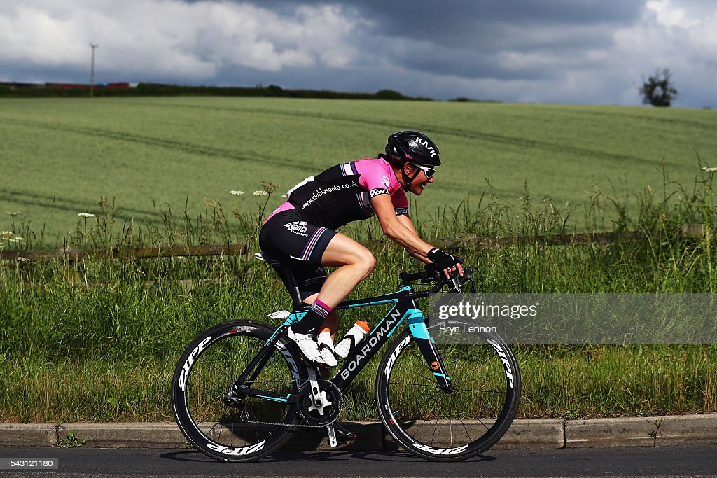 Dame Sarah Storey of Podium Ambition makes an early solo breakaway during the Women's 2016 National Road Championships on June 26, 2016 in Stockton-on-Tees, England.