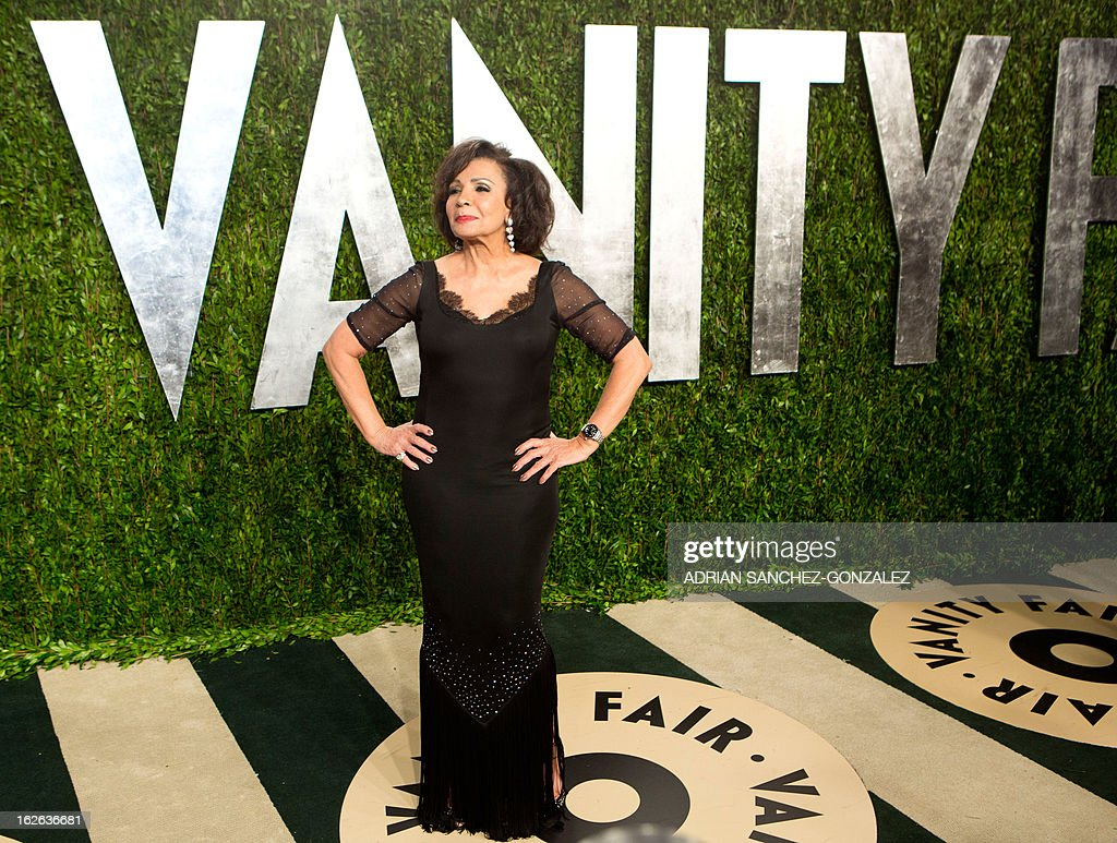 Dame Shirley Bassett arrives for the 2013 Vanity Fair Oscar Party on February 24, 2013 in Hollywood, California.
