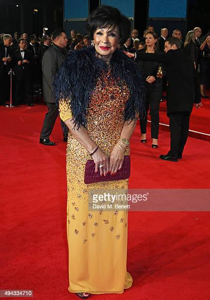 Dame Shirley Bassey attends the Royal World Premiere of 'Spectre' at Royal Albert Hall on October 26 2015 in London England