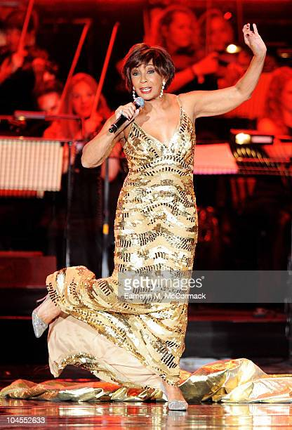 Dame Shirley Bassey performs during Welcome To Wales at Millennium Stadium on September 29 2010 in Cardiff Wales