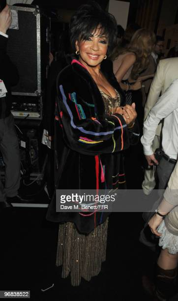 Dame Shirley Bassey poses backstage during Naomi Campbell's Fashion For Relief Haiti London 2010 Fashion Show at Somerset House on February 18 2010...