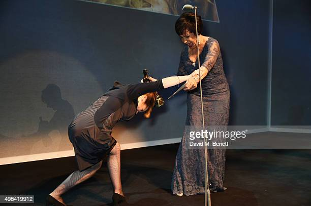 Dame Shirley Bassey presents the award for Best Musical Performance to Imelda Staunton for 'Gypsy' at The London Evening Standard Theatre Awards in...
