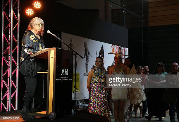 Dame Suzie Moncrieff speaks at the Auckland War Memorial Museum's World of Wearable Art exhibition opening at Auckland Museum on November 20 2014 in...