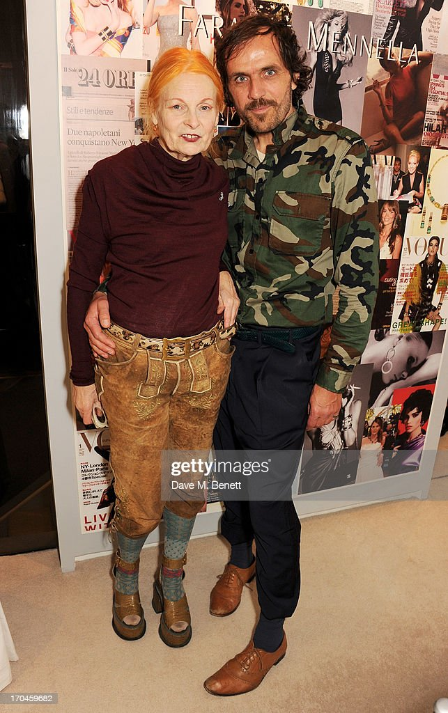 Dame Vivienne Westwood (L) and Andreas Kronthaler attend the 12th birthday of New York jewellery house Faraone Mennella, with guest of honour Patricia Field, at their Knightsbridge store on June 13, 2013 in London, England.