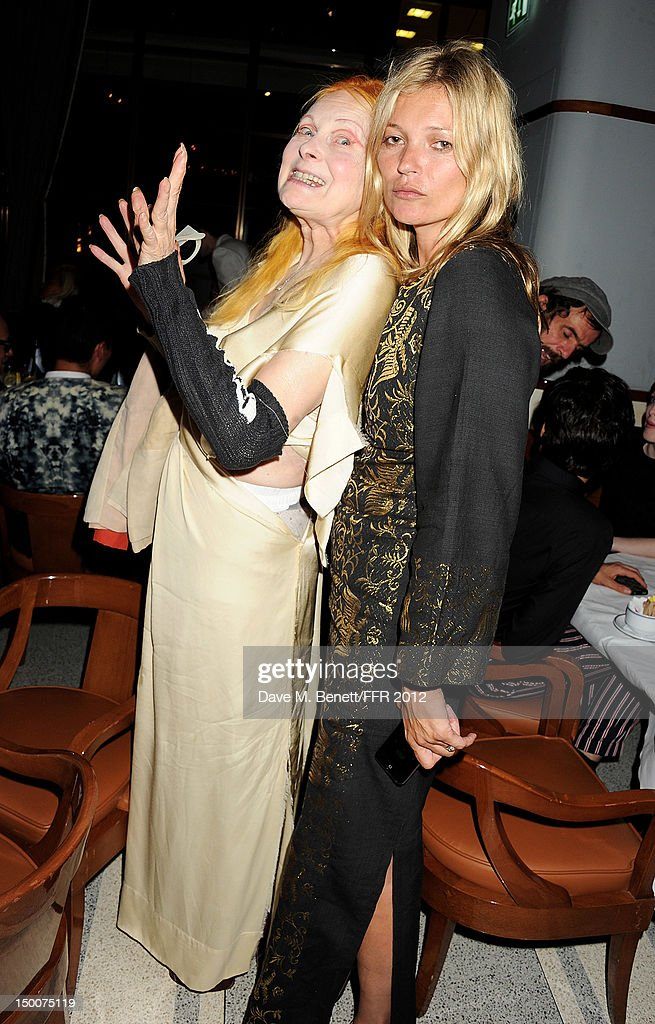 Dame Vivienne Westwood (L) and <a gi-track='captionPersonalityLinkClicked' href=/galleries/search?phrase=Kate+Moss&family=editorial&specificpeople=201830 ng-click='$event.stopPropagation()'>Kate Moss</a> attend as Naomi Campbell hosts an Olympic Celebration Dinner in partnership with Fashion For Relief, Interview Magazine and Downtown Mayfair celebrating the amazing accomplishments of Team GB on August 9, 2012 in London, United Kingdom. Guest joined event hosts Naomi, Vladislav Doronin and Giuseppe Cipriani at London's Downtown Mayfair. 'The 2012 Olympics have been remarkable - I am elated for Team GB and the extraordinary success they have had so far. It's a very special and proud time to be in London and to celebrate the outstanding talent, which has been showcased during the games. I wish everyone taking part in London 2012 continued strength, determination and perseverance for the remainder of the games.'