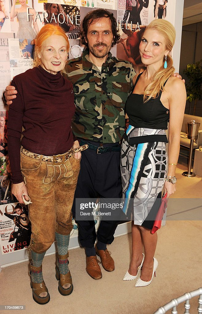 Dame Vivienne Westwood, Andreas Kronthaler and Lindsey Love attend the 12th birthday of New York jewellery house Faraone Mennella, with guest of honour Patricia Field, at their Knightsbridge store on June 13, 2013 in London, England.