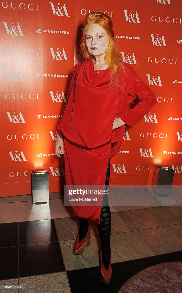 Dame Vivienne Westwood attends the dinner to celebrate The David Bowie Is exhibition in partnership with Gucci and Sennheiser at the Victoria and Albert Museum on March 19, 2013 in London, England.