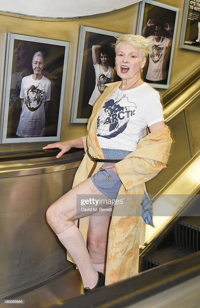 Dame Vivienne Westwood attends the launch of the 'Save The Arctic' exhibition with Greenpeace hosted by London Underground at Waterloo Station on July 13, 2015 in London, England.