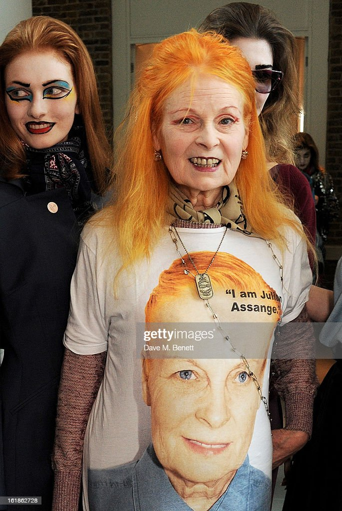 Dame Vivienne Westwood (C) attends the Vivienne Westwood Red Label show during London Fashion Week Fall/Winter 2013/14 on February 17, 2013 in London, England.
