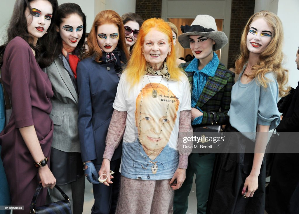 Dame Vivienne Westwood poses with models at the Vivienne Westwood Red Label show during London Fashion Week Fall/Winter 2013/14 at the Saatchi Gallery on February 17, 2013 in London, England.