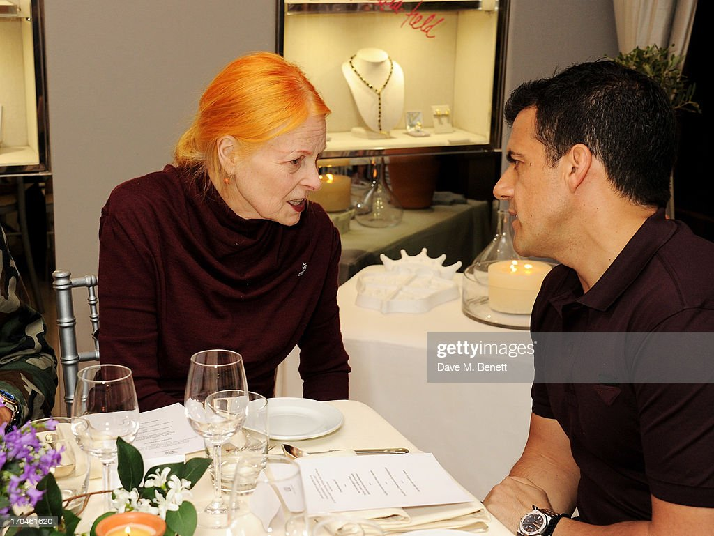 Dame Vivienne Westwood (L) speaks with Amedeo Scognamiglio at the 12th birthday of New York jewellery house Fararone Mennella, with guest of honour Patricia Field, at their Knightsbridge store on June 13, 2013 in London, England.