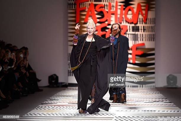 Dame Vivienne Westwood walks the runway at the Fashion For Relief charity fashion show to kick off London Fashion Week Fall/Winter 2015/16 at...