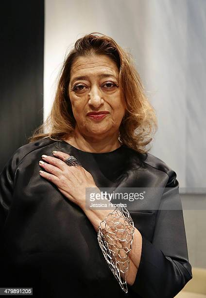 Dame Zaha Hadid attends precocktail drinks for the opening of Stuart Weitzman Boutique which she designed on March 21 2014 in Hong Kong