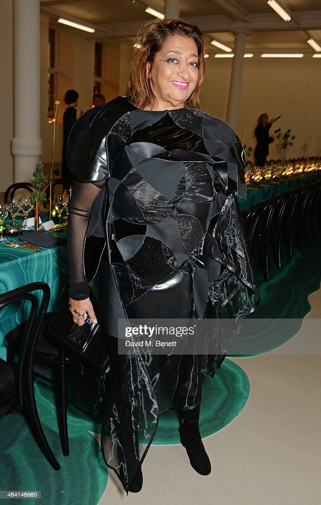 Dame <a gi-track='captionPersonalityLinkClicked' href=/galleries/search?phrase=Zaha+Hadid&family=editorial&specificpeople=560782 ng-click='$event.stopPropagation()'>Zaha Hadid</a> attends the Delfina Delettrez London boutique opening dinner during London Fashion Week Fall/Winter 2015/16 on February 22, 2015 in London, England.