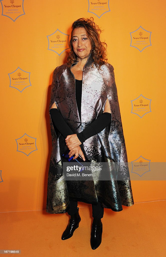 Dame <a gi-track='captionPersonalityLinkClicked' href=/galleries/search?phrase=Zaha+Hadid&family=editorial&specificpeople=560782 ng-click='$event.stopPropagation()'>Zaha Hadid</a>, winner of the Veuve Clicquot Business Woman Award 2013, attends the Veuve Clicquot Business Woman Award 2013 at Claridge's Hotel on April 22, 2013 in London, England.