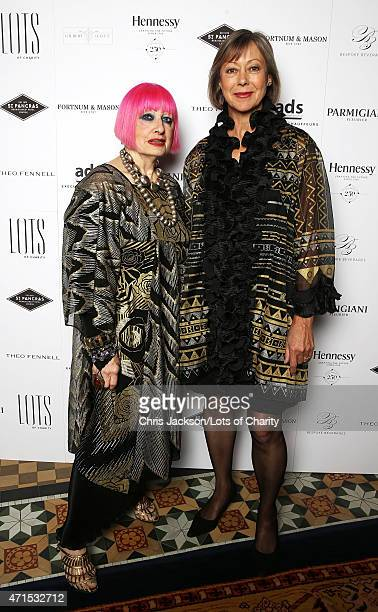 Dame Zandra Rhodes and Jenny Agutter attend the lotsofcharitycom Remarkable Dinner at the St Pancras Renaissance Hotel on April 29 2015 in London...