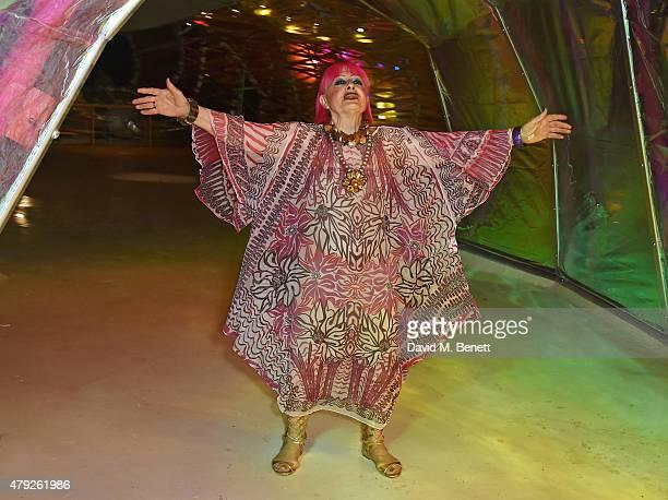Dame Zandra Rhodes attend The Serpentine Gallery summer party at The Serpentine Gallery on July 2 2015 in London England