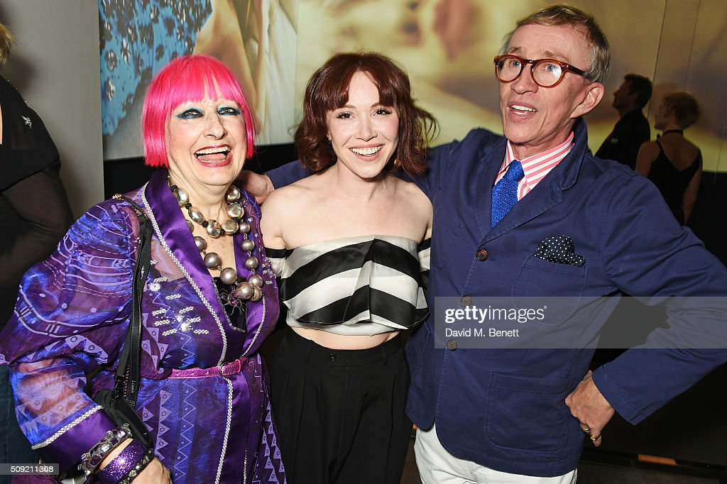 Dame Zandra Rhodes, Daisy Lewis and Jasper Conran attend a private view of 'Vogue 100: A Century of Style' hosted by Alexandra Shulman and Leon Max at the National Portrait Gallery on February 9, 2016 in London, England.