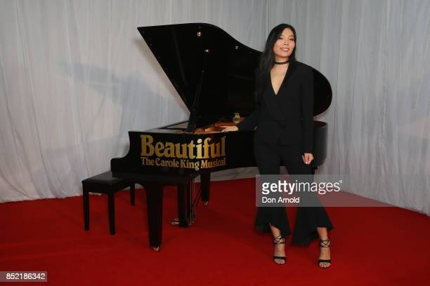 Dami Im arrives ahead of the premiere of Beautiful The Carole King Musical at Lyric Theatre Star City on September 23 2017 in Sydney Australia
