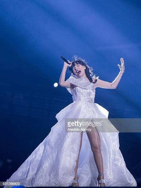 Dami Im of Australia performs during the Second Dress Rehearsal of the Grand Final ahead of the 2016 Eurovision Song Contest in Stockholm Sweden on...