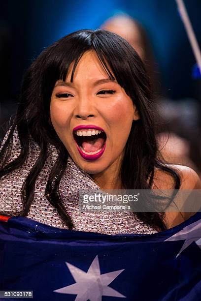 Dami Im of Australia reacts after reach the finals of the 2016 Eurovision Song Contest at Ericsson Globe Arena on May 12 2016 in Stockholm Sweden