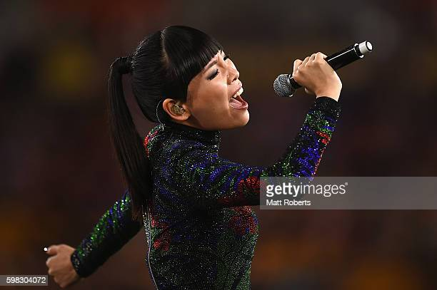 Dami Im performs on stage before the round 26 NRL match between the Brisbane Broncos and the Sydney Roosters at Suncorp Stadium on September 1 2016...