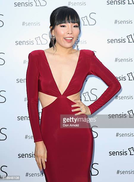 Dami Im poses from inside the Sensis marquee during Queen Elizabeth Stakes Day at Royal Randwick Racecourse on April 9 2016 in Sydney Australia