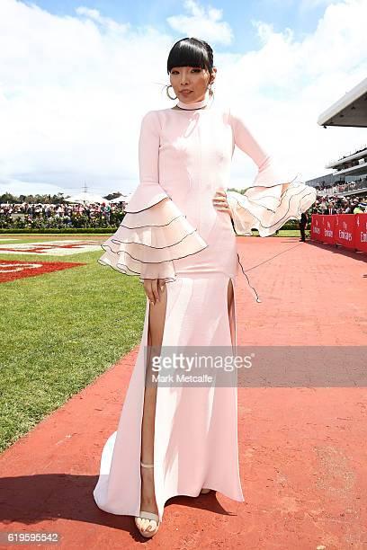 Dami Im poses on Emirates Melbourne Cup Day at Flemington Racecourse on November 1 2016 in Melbourne Australia
