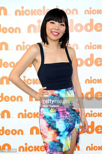 Dami Im poses on the media wall ahead of the Nickelodeon Slimefest 2014 matinee show at the State Netball Hockey Centre on September 28 2014 in...