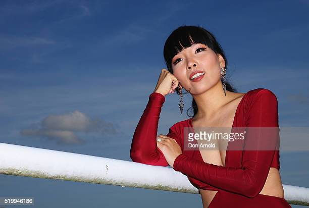 Dami Im poses outside the Sensis marquee during Queen Elizabeth Stakes Day at Royal Randwick Racecourse on April 9 2016 in Sydney Australia