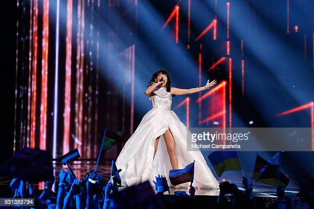 Dami Im representing Australia performs the song 'Sound Of Silence' at the Ericsson Globe on May 14 2016 in Stockholm Sweden