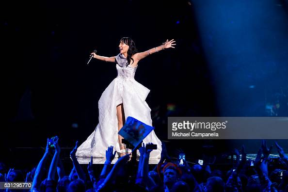 Dami Im representing Australia performs the song 'Sound Of Silence' during the final dress rehearsal of the 2016 Eurovision Song Contest at Ericsson...