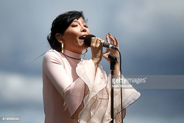 Dami Im sings the national anthem ahead of race 7 the Emirates Melbourne Cup on Emirates Melbourne Cup Day at Flemington Racecourse on November 1...