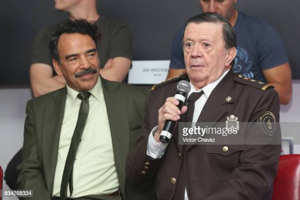 Damian Alcazar and Xavier Lopez 'Chabelo' attend a press conference and photocall to promote the film 'El Complot Mongol' at Club de Periodistas de...