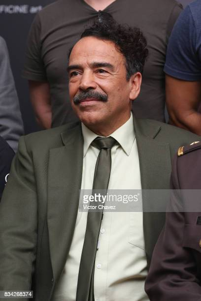 Damian Alcazar attends a press conference and photocall to promote the film 'El Complot Mongol' at Club de Periodistas de Mexico on August 17 2017 in...