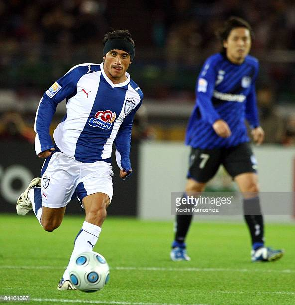 Damian Alvarez of Pachuca in action during the FIFA Club World Cup Japan 2008 third place match between Pachuca and Gamba Osaka at the International...