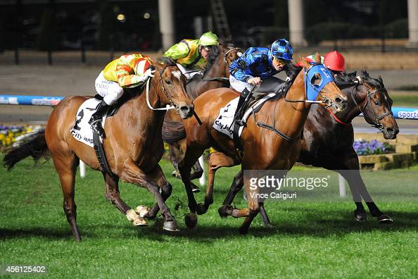 Damian Browne riding Buffering defeats Craig Newitt riding Lankan Rupee and Craig Williams riding Rebel Dane in Race 4 the City Jeep Moir Stakes...