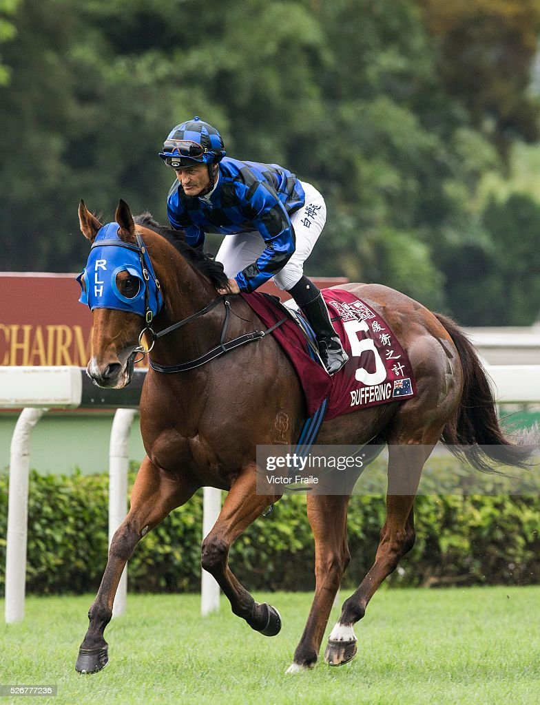 Damian Browne riding Buffering of Australia galops prior the start of The Chairman's Sprint Prize race at Sha Tin Racecourse on May 1, 2016 in, Hong Ko