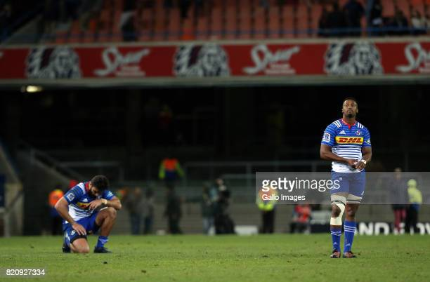 Damian de Allende and Sikhumbuzo Nothse of the Stormers during the Super Rugby Quarter final between DHL Stormers and Chiefs at DHL Newlands on July...