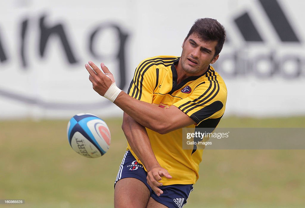 Damian de Allende in action during the DHL Stormers training session at the High Performance Centre in Bellville on January 30, 2013 in Cape Town, South Africa.