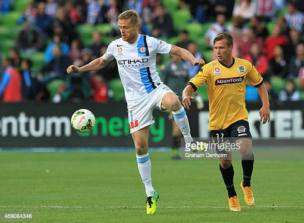 Damian Duff of Melbourne City looks to control the ball during the round six ALeague match between Melbourne City FC and the Central Coast Mariners...