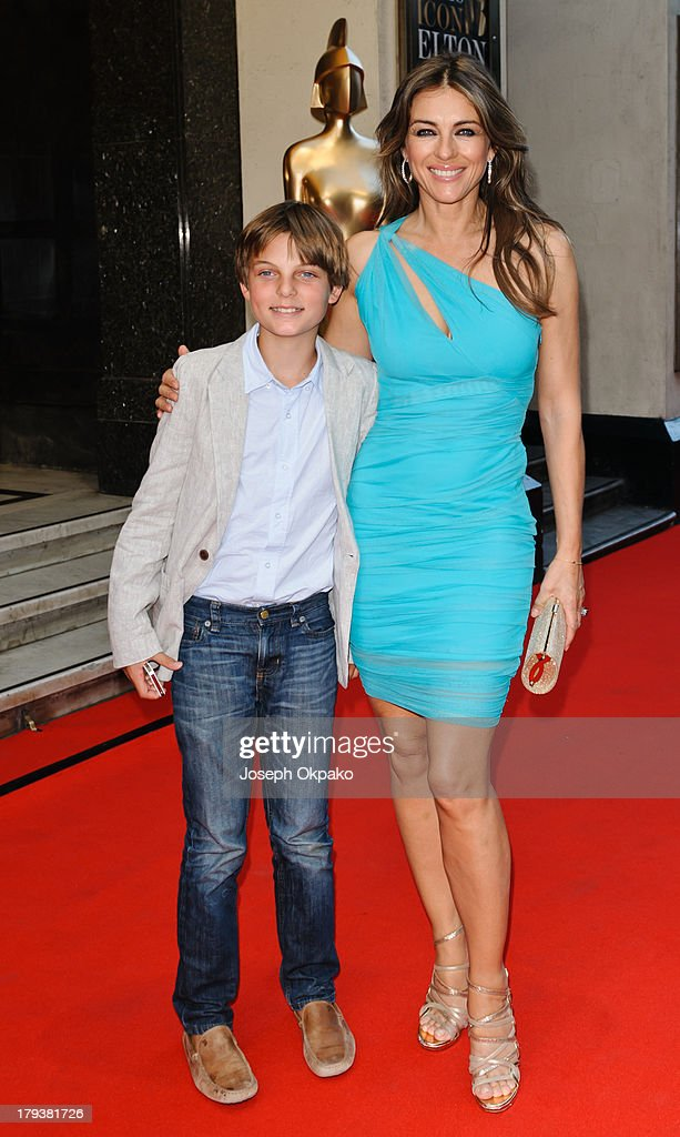 Damian Hurley and <a gi-track='captionPersonalityLinkClicked' href=/galleries/search?phrase=Elizabeth+Hurley&family=editorial&specificpeople=201731 ng-click='$event.stopPropagation()'>Elizabeth Hurley</a> arrives at Brits Icon Awards honouring Sir Elton John at London Palladium on September 2, 2013 in London, England.