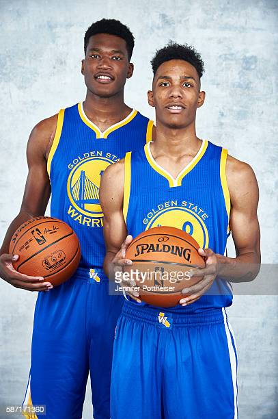 Damian Jones and Patrick McCaw of the Golden State Warriors pose for a portrait during the 2016 NBA rookie photo shoot on August 7 2016 at the...